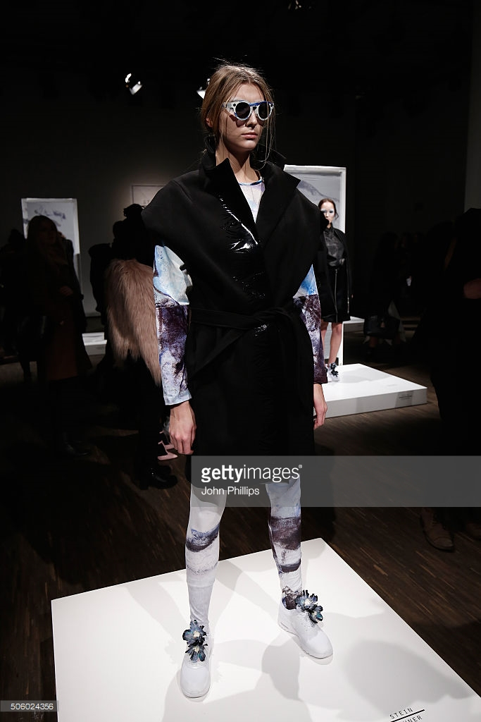 A model poses at the Steinrohner show during the Mercedes-Benz Fashion Week Berlin Autumn/Winter 2016 at Stage at me Collectors Room on January 21, 2016 in Berlin, Germany.